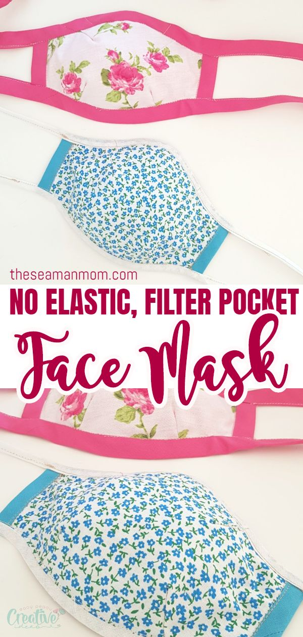 This fabric face mask is the perfect accessory to wear whenever face coverings in public is necessary! Made with a filter pocket, this reusable face mask doesn't use an elastic so it's easy to sew with materials you most likely already have on hand! via @petroneagu