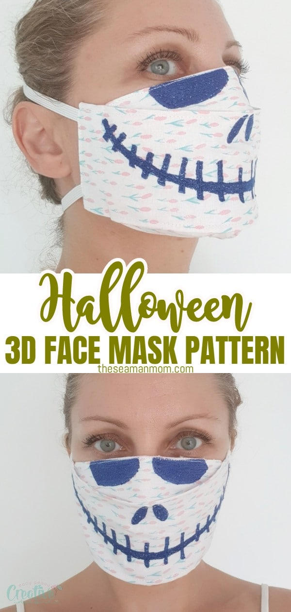 Get ready for Halloween and turn the need for a protective face mask into art with this fun Halloween 3D face mask pattern! Embroidered with a Skellington smile, roomy and comfortable to wear, this 3D face mask is a must this Halloween season! via @petroneagu