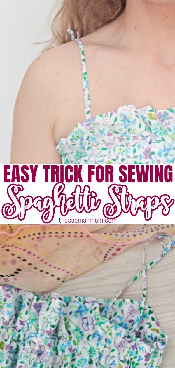 Love the look of those teeny tiny spaghetti straps? Making your own rouleau straps is a lot easier and faster than you think! Learn how to make spaghetti straps the easiest way! via @petroneagu