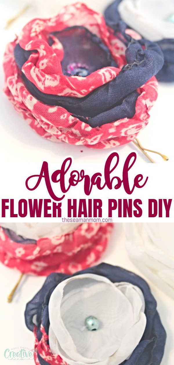 Add some bling to your hair with some cute hair pins! These flower hair pins are so easy and quick to make with singed flowers from fabric and regular bobby pins! via @petroneagu