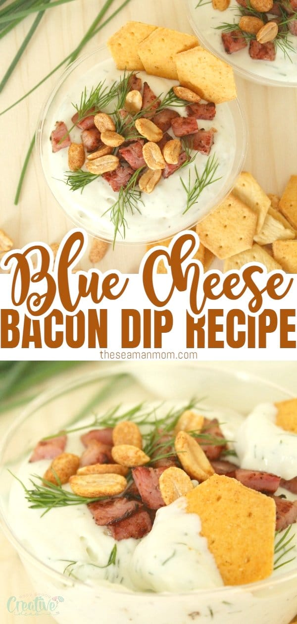 This blue cheese bacon dip appetizer is ideal for entertaining! Make it cold or warm, baked in individual cups and serve with fresh grapes or spicy crackers.  via @petroneagu