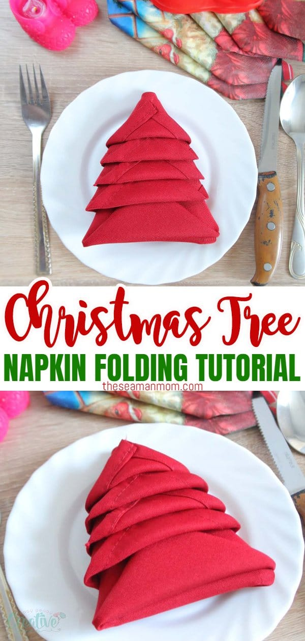 This Christmas turn a boring napkin into a wonderful craft with this simple tutorial on Christmas Napkin Folding! Add personality to your Christmas table in just 2 minutes with an adorable folding Christmas tree! via @petroneagu
