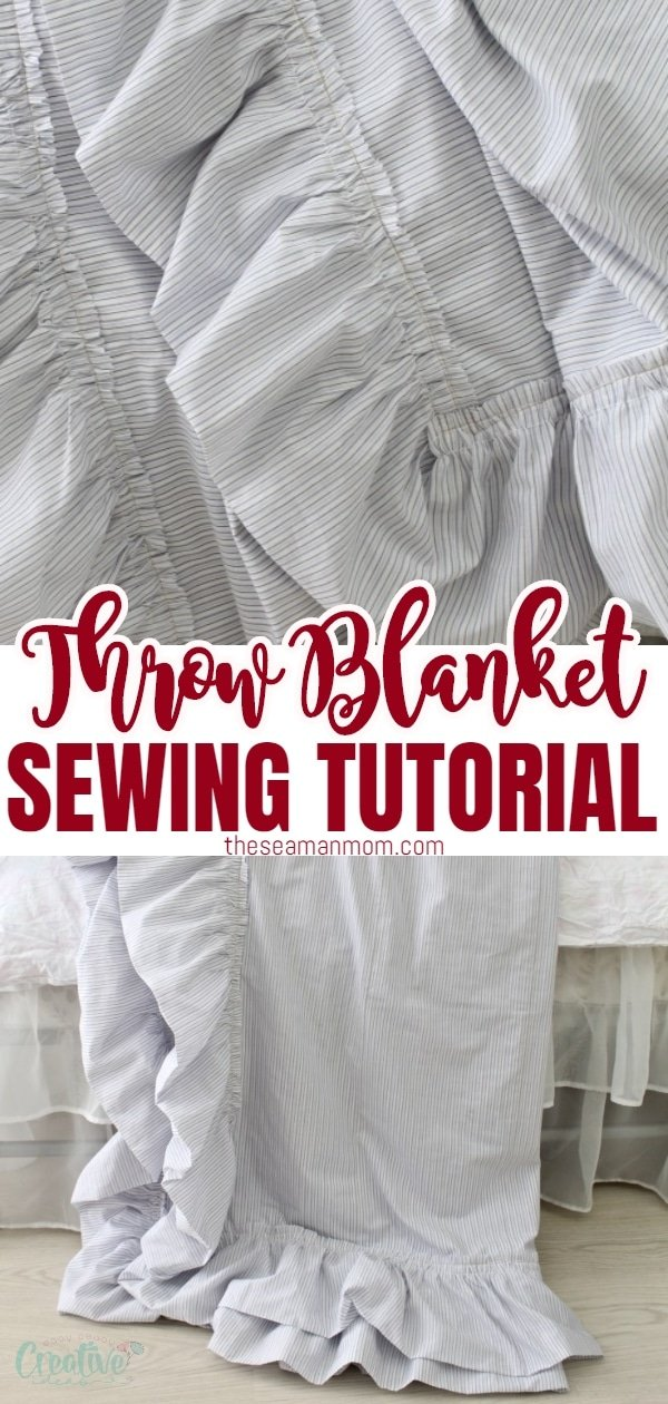 Ever thought about sewing your own linen throw blanket? This quick and simple DIY throw blanket makes sewing a throw blanket a breeze, you'll be done in no time! This adorable reversible throw blanket is a great decorative piece but will also keep you warm and cozy all season long! via @petroneagu