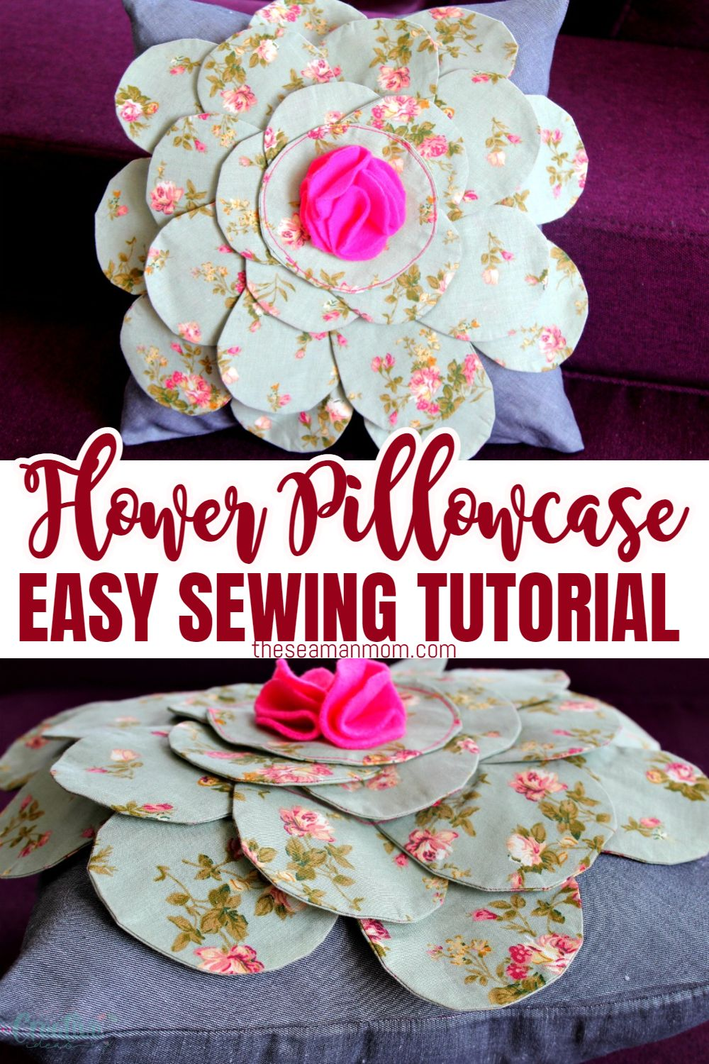 This pretty flower pillow pattern is great for beginners and a wonderful way to practice sewing round shapes and zippers. via @petroneagu