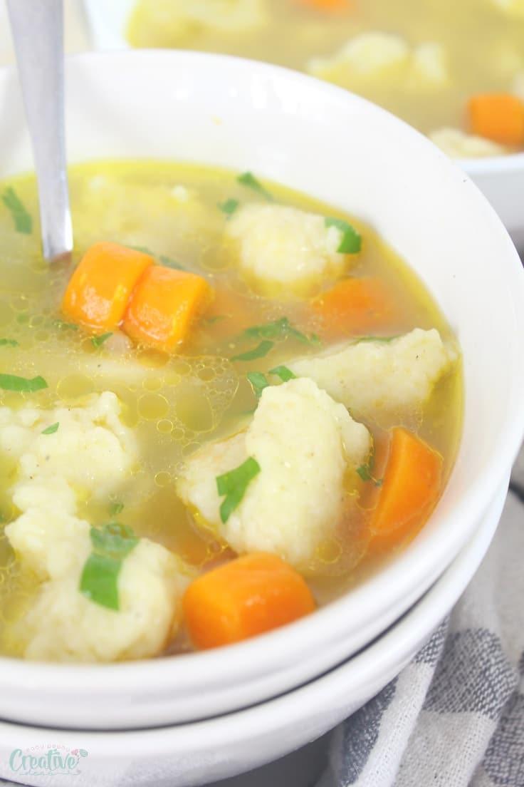 Semolina chicken dumplings soup