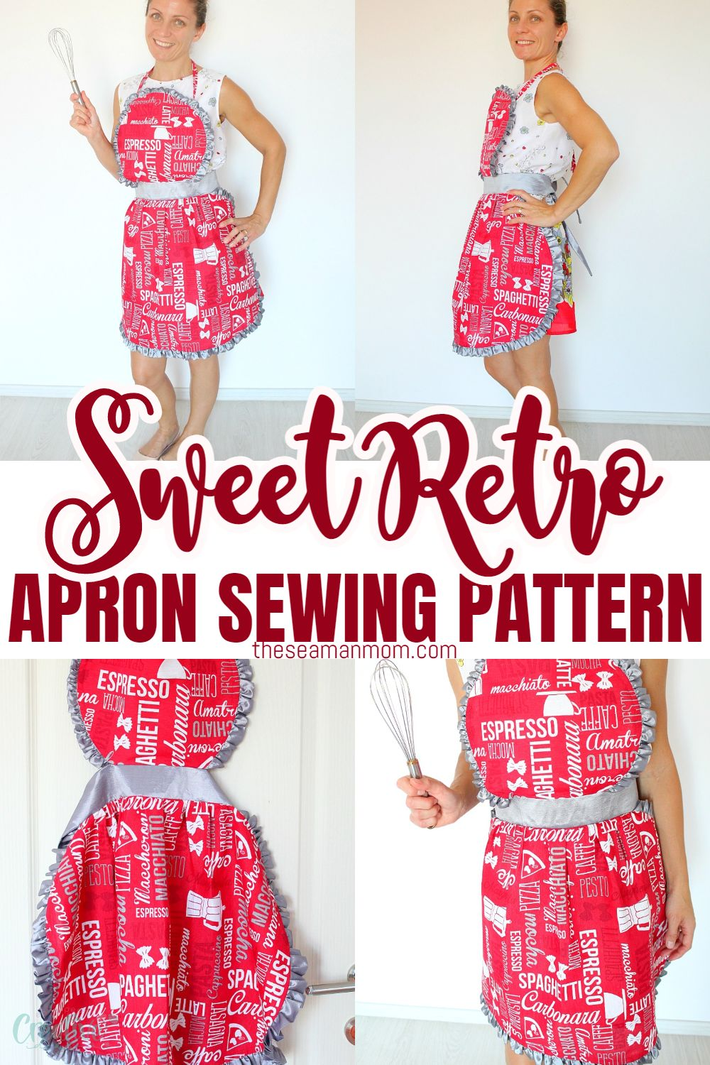 If you're looking for an apron sewing pattern with a little retro flair that is sweet looking, fun and easy to make, this Vintage Apron Pattern is it! This darling ruffled apron pattern is a great project for beginners! via @petroneagu