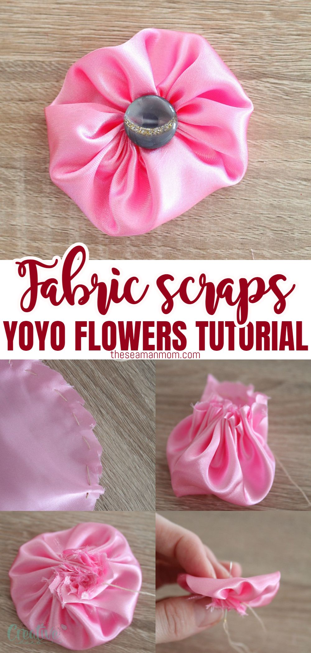 These pretty fabric yoyo flowers are super easy to make and a great project for beginners. Also a perfect way to update your wardrobe on a budget! via @petroneagu