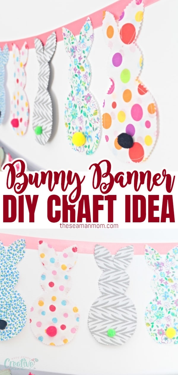 Spruce up your home decor this Spring with an adorable bunny banner! Made with fabric scraps, this bunny decor is perfect for kids room but works great as Easter banner too! via @petroneagu