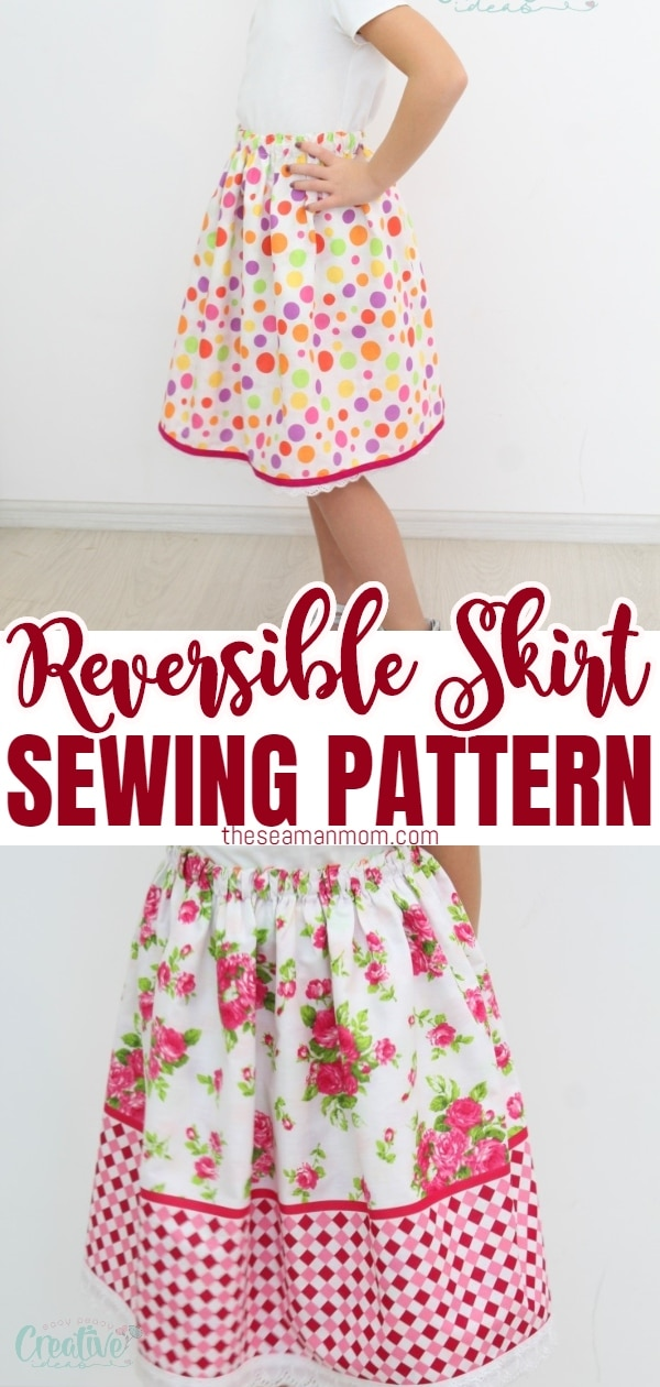 Need an easy sew skirt that you can whip up in less than an hour? This reversible skirt tutorial makes a gorgeouselastic waist skirt that is simple to make and comfortable to wear! Great beginners project! via @petroneagu