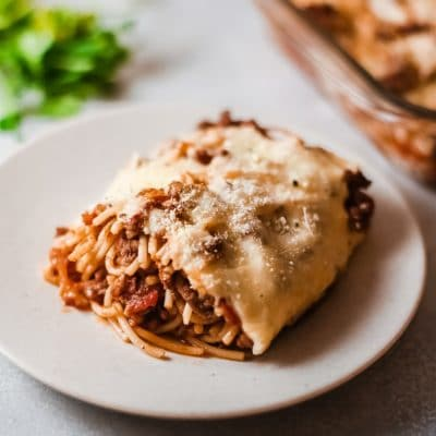 This is the best easy cheesy baked spaghetti that everyone will love