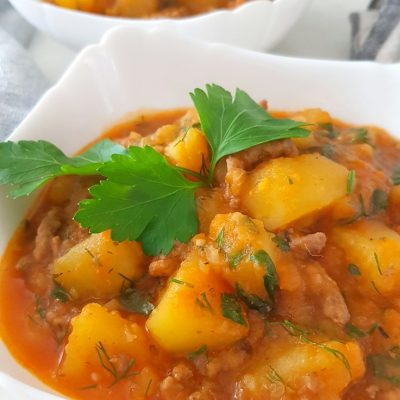 Hearty yummy beef and potato stew you'll want to make today