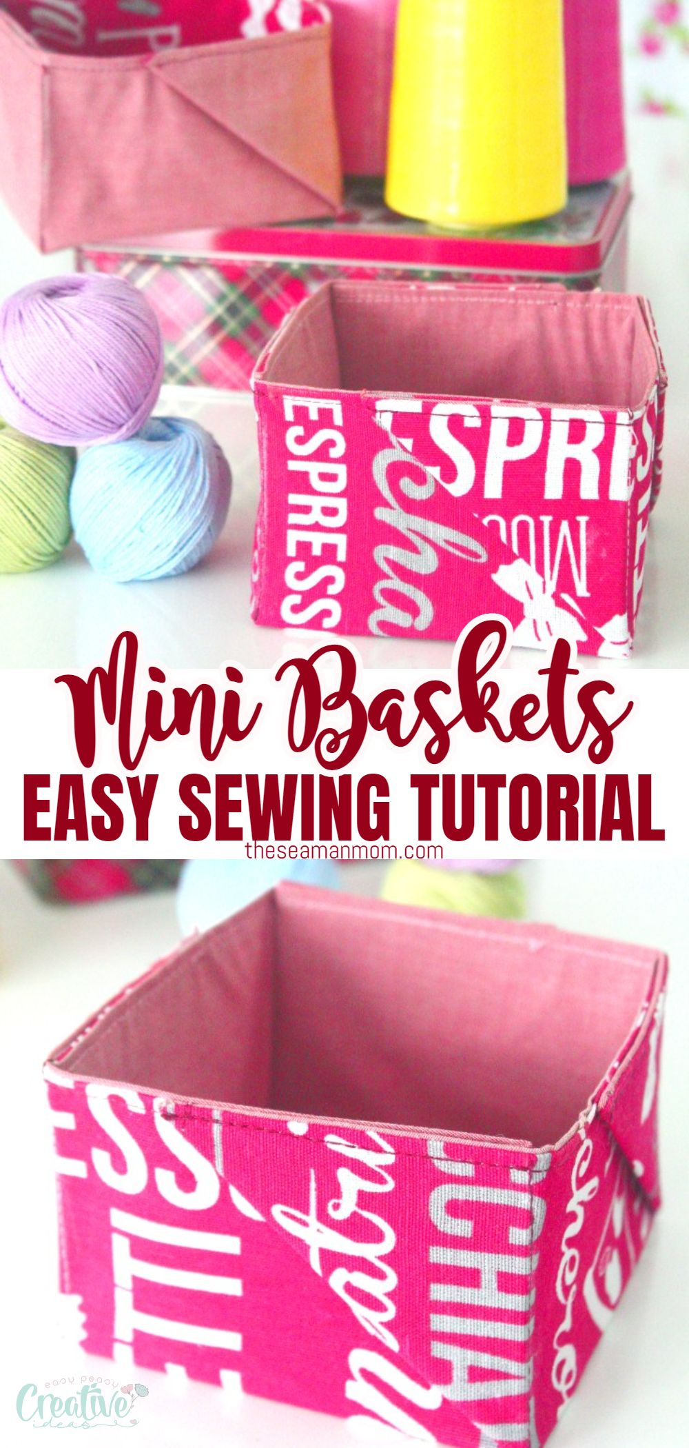 """Everyone needs to organize various items around the house, so we're in constant need of boxes, baskets, bags or any other storing solution. Today I'm going to show you a fabulous fabric baskets tutorial where I make super cute and easy mini """"pinwheel"""" baskets with fabric, to store smaller stuff like sewing notions or makeup, small toys, hair accessories etc. via @petroneagu"""