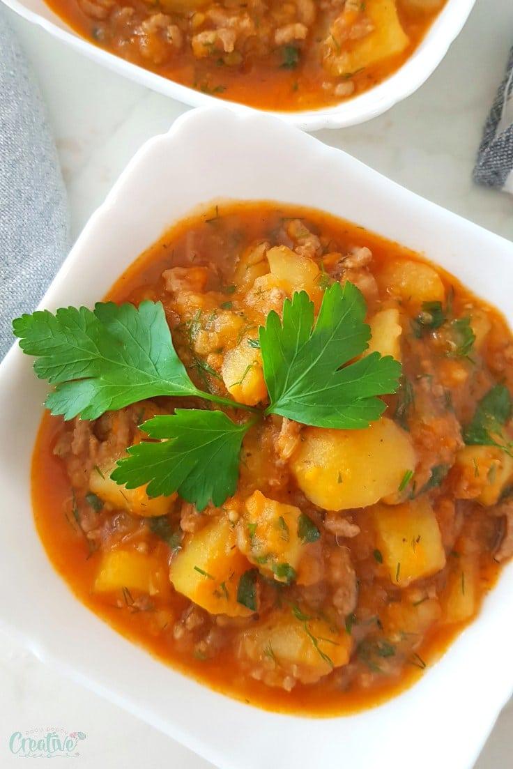 Ground beef and potato stew