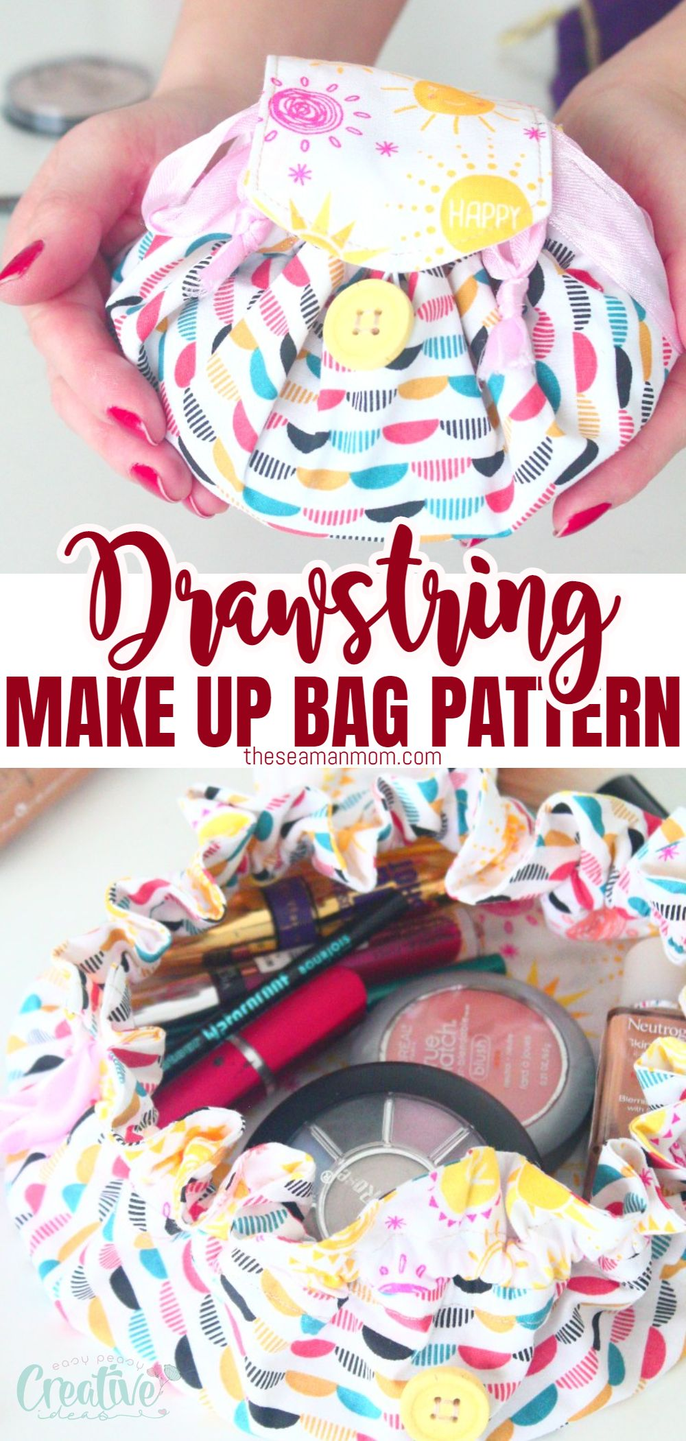 Makeup products scattered all around the house or your bathroom vanity? Or maybe you need a new mini travel makeup bag and can't happen to find something you like? Choose your favorite fabrics and use this simple and quick makeup bag pattern to make a pretty mini makeup sack the exact size you need! via @petroneagu