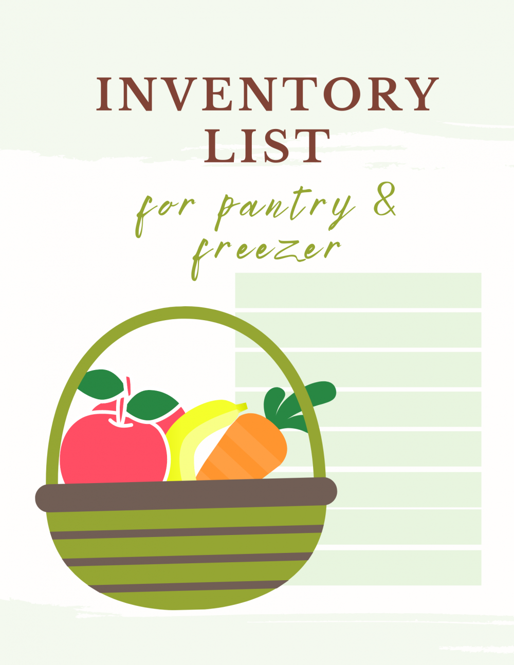 Pantry inventory list