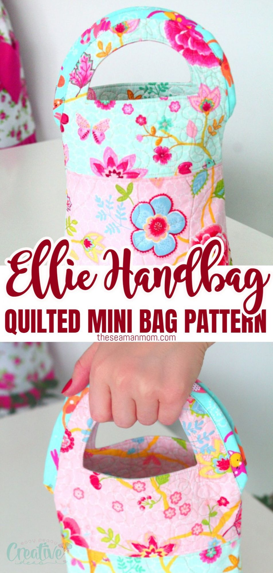 Quilted handbag sewing pattern