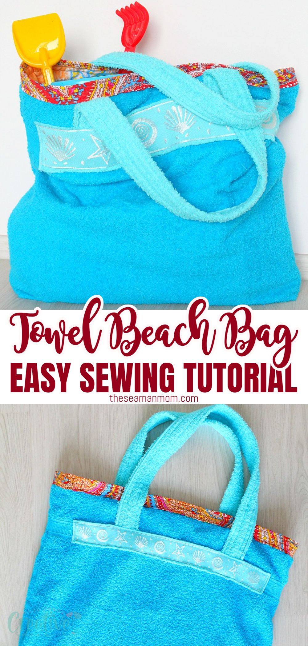 Turn an old towel into a cute and roomy tote bag with this super easy tutorial for a towel bag. Perfect not only for the beach season, this roomy towel beach bag is a great help for when you need to carry lots of items because it's so comfortable to wear on your shoulder! via @petroneagu