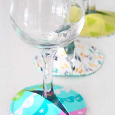 These adorable fabric coasters are the perfect slippers for your wine glass
