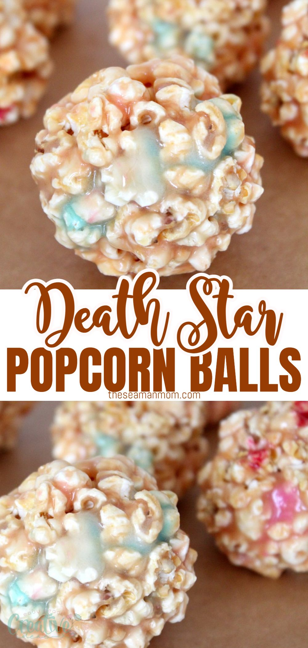 """These fun """"death Star"""" marshmallow popcorn balls are a delightful twist to your regular popcorn, thanks to those colorful, eye catching marshmallows! Perfect pair for a Star Wars movie night with the kiddos or just because! via @petroneagu"""