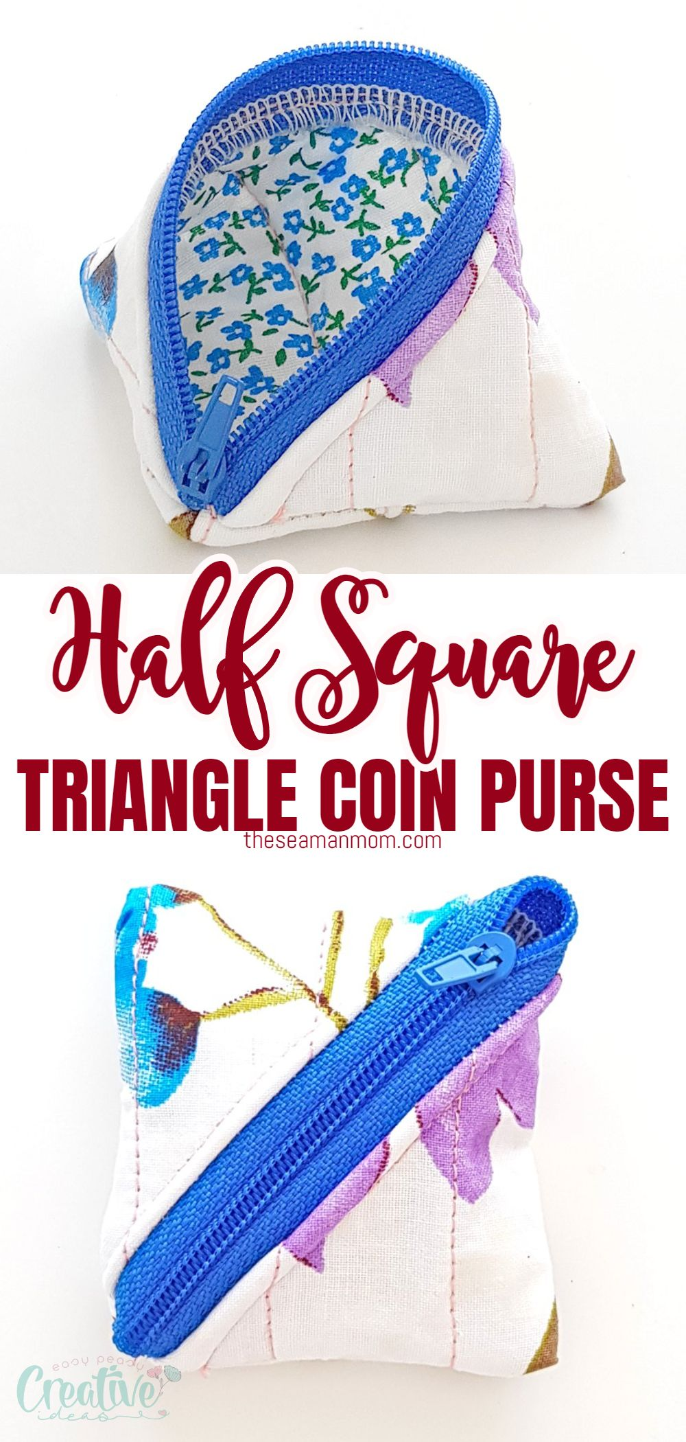 Can't seem to keep all your coins in one place or can't find some change when you need it? Here is a super easy tutorial for making a handy dandy half square triangle zipper coin purse in just about 30 minutes! via @petroneagu