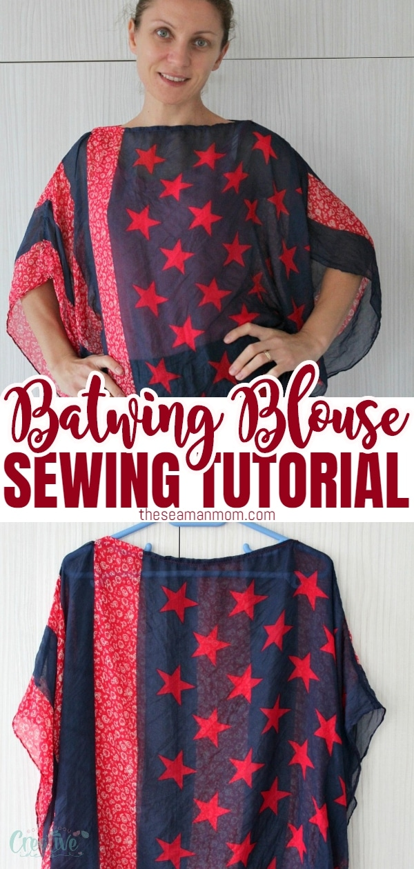 Learn how to make a scarf top and sew yourself a flattering, comfortable top with this easy and quick batwing top tutorial! All it takes is a nice scarf and a couple of stitches. via @petroneagu