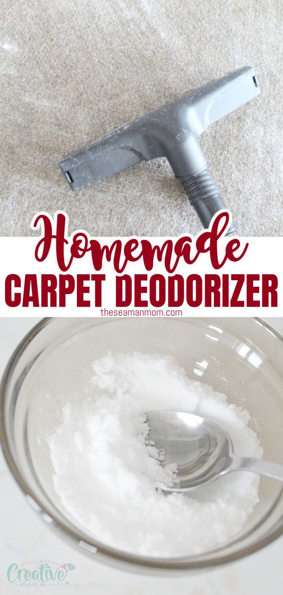 DIY Carpet deodorizer in a bowl and on the carpet