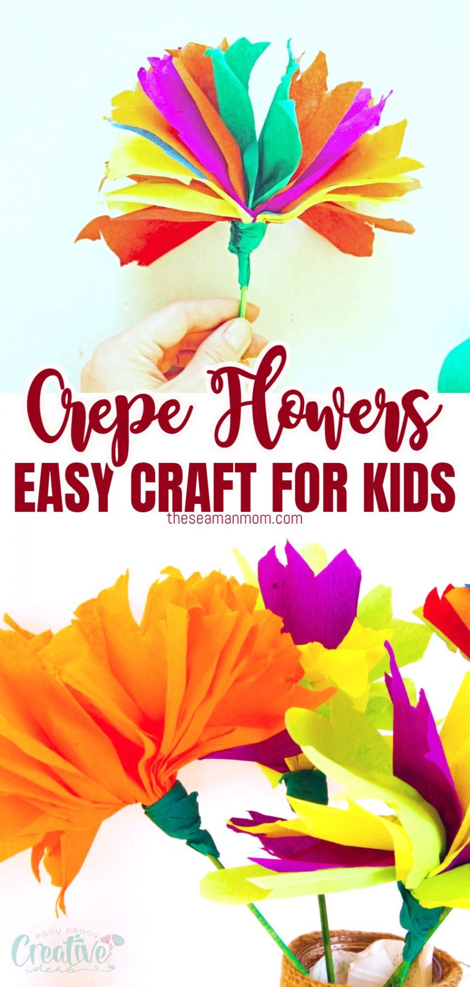 DIY crepe paper flowers for kids in a painted mason jar