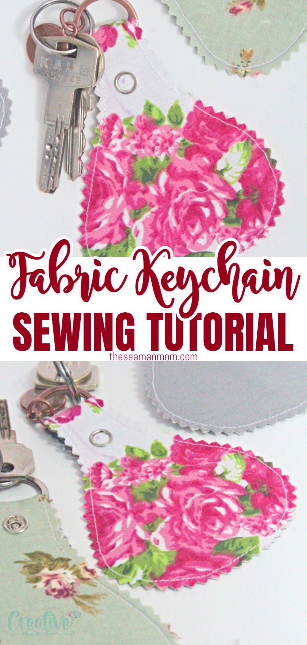 Love cute fabric key fob ideas? Make your own adorable keychains with this easy fabric keychain DIY! These homemade keychains are super quick & easy to make and are a fun project for beginner sewists! via @petroneagu