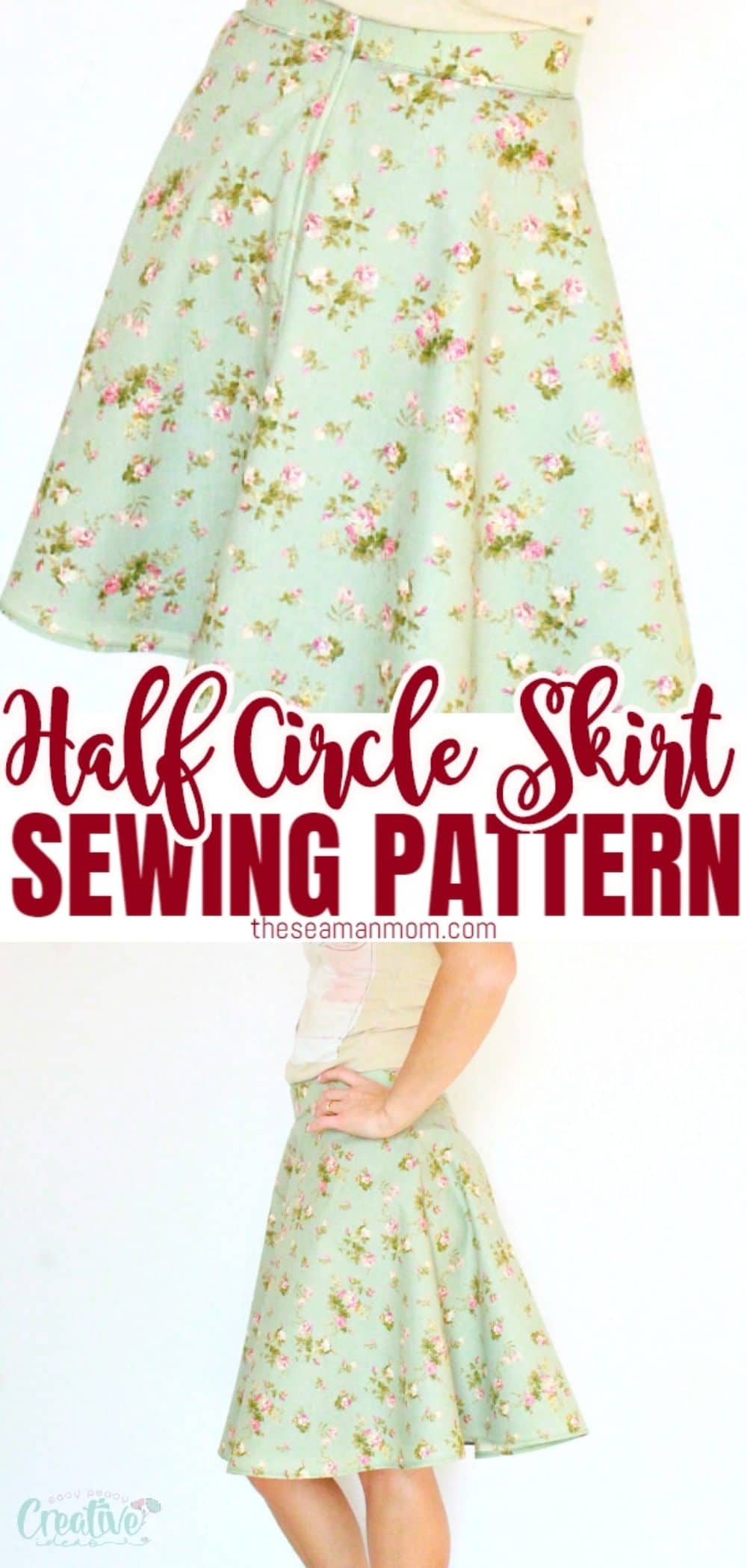 Making a lined skirt is insanely easy! With this simple tutorial for a half circle skirt with zipper and lining, you won't need a pattern to make a knee length skirt that fits you perfectly! via @petroneagu