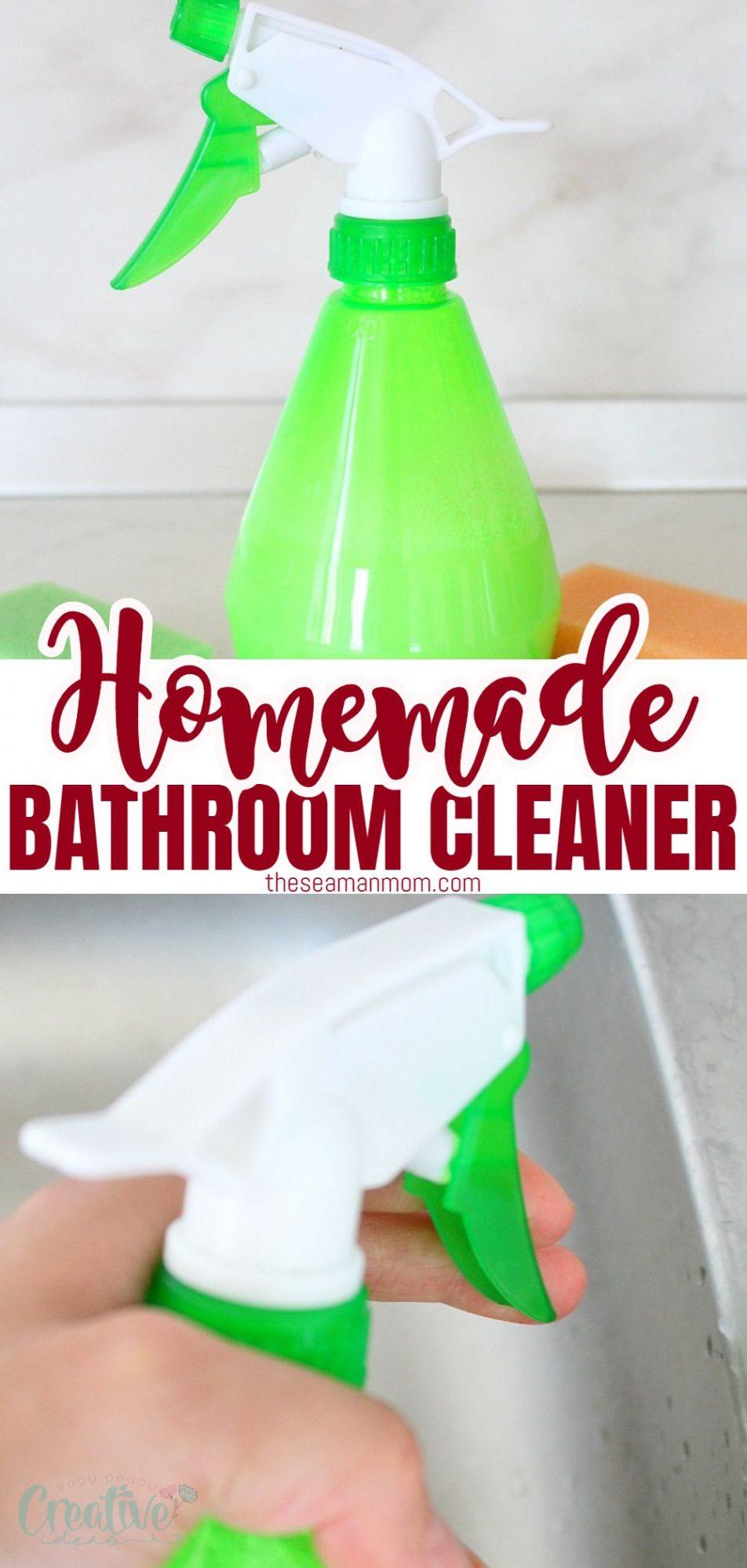 Homemade bathroom cleaner in a green spray bottle