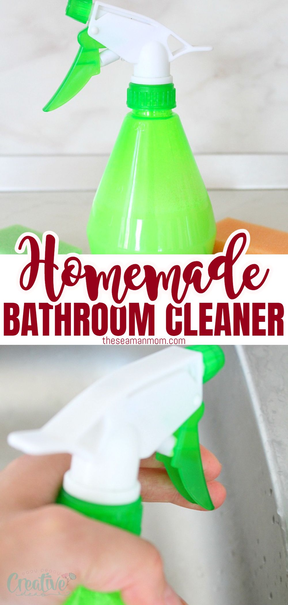 Make your bathroom sparkle and save a pile of money while protecting your house and family from harmful chemicals when you make this simple and efficient homemade bathroom cleaner! via @petroneagu