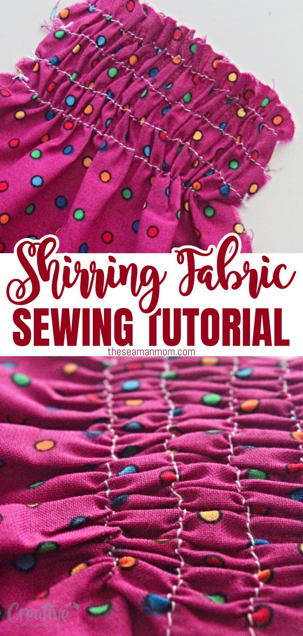 Shirred fabric looks so pretty and a little fancy and in spite of the bad reputation, shirring is easy and fun! In this tutorial you'll learn how to shirr fabric with an easy, simple and fast method! via @petroneagu