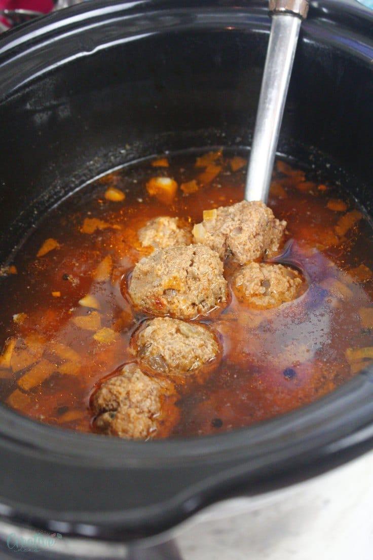 Meatballs in slow cooker in sauce