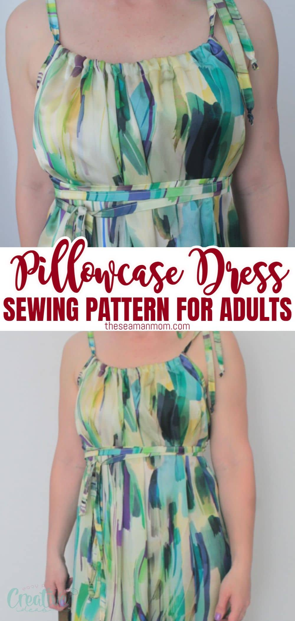 If you're looking for a dress pattern for ladies that is crazy easy to sew and ready to wear in no time, this pillowcase dress for adults is your best bet! Perfect beginners project, this pillowcase dress for women is both cute and super comfy to wear! via @petroneagu