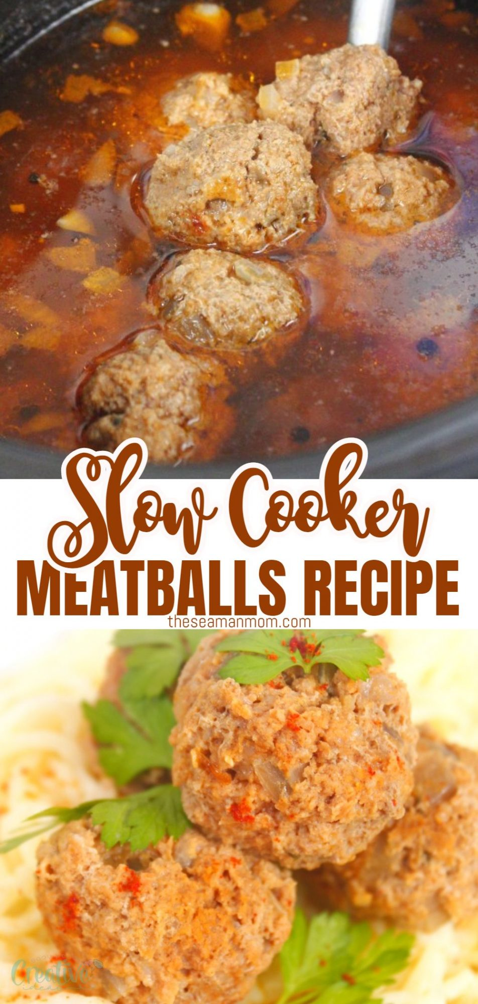 Slow cooker meatballs with sauce and on top of spaghetti pasta