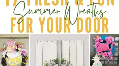 Photo collage of fun summer wreath ideas to make at home