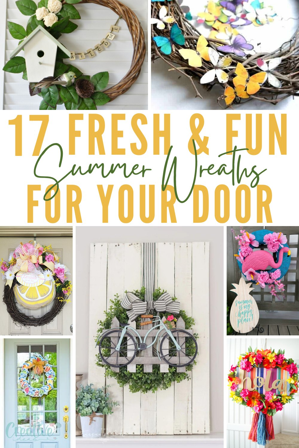 Celebrate the season with these unique summer wreath ideas for your front door! If you're looking for fun DIYwreaths for summer, you have come to the right place! via @petroneagu