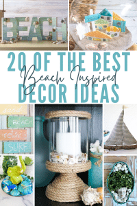 Photo collage with beach inspired décor ideas to make for home