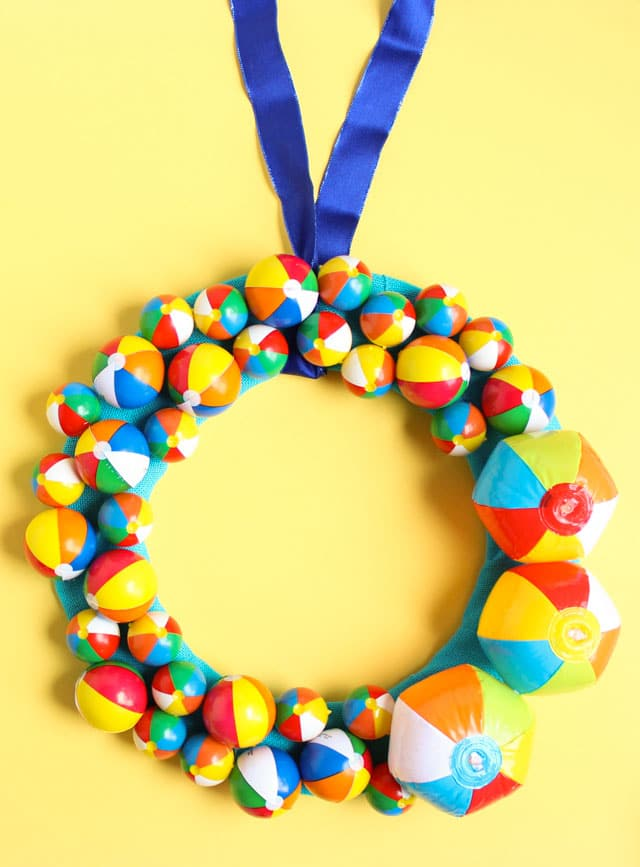 Image of summer wreath made with beach balls