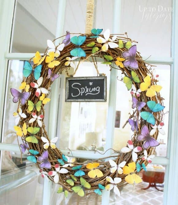 Image of summer wreath made with paper butterflies