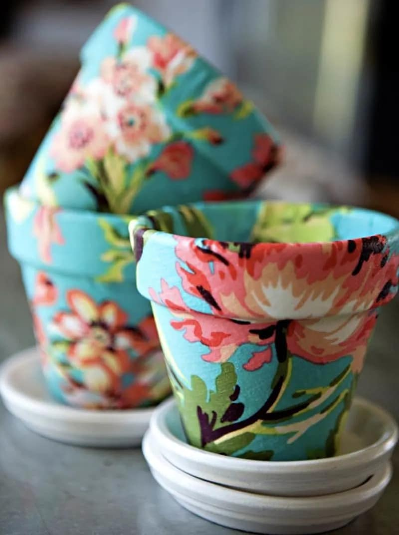 DIY Flower Pot Project home decor made with terracotta pots and fabric