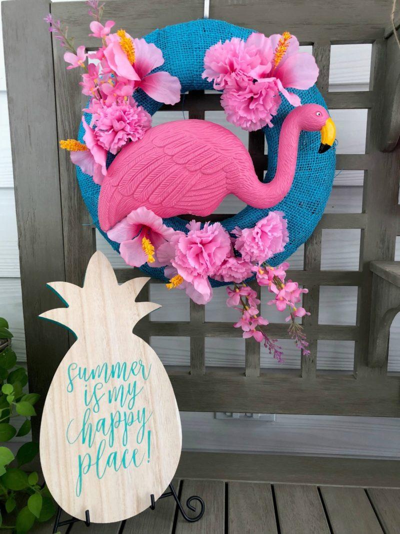 Image of summer door decoration with flamingo detail