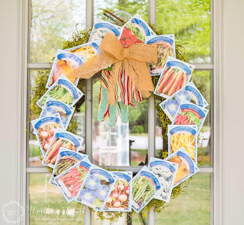 Image of summer wreath in gardening theme