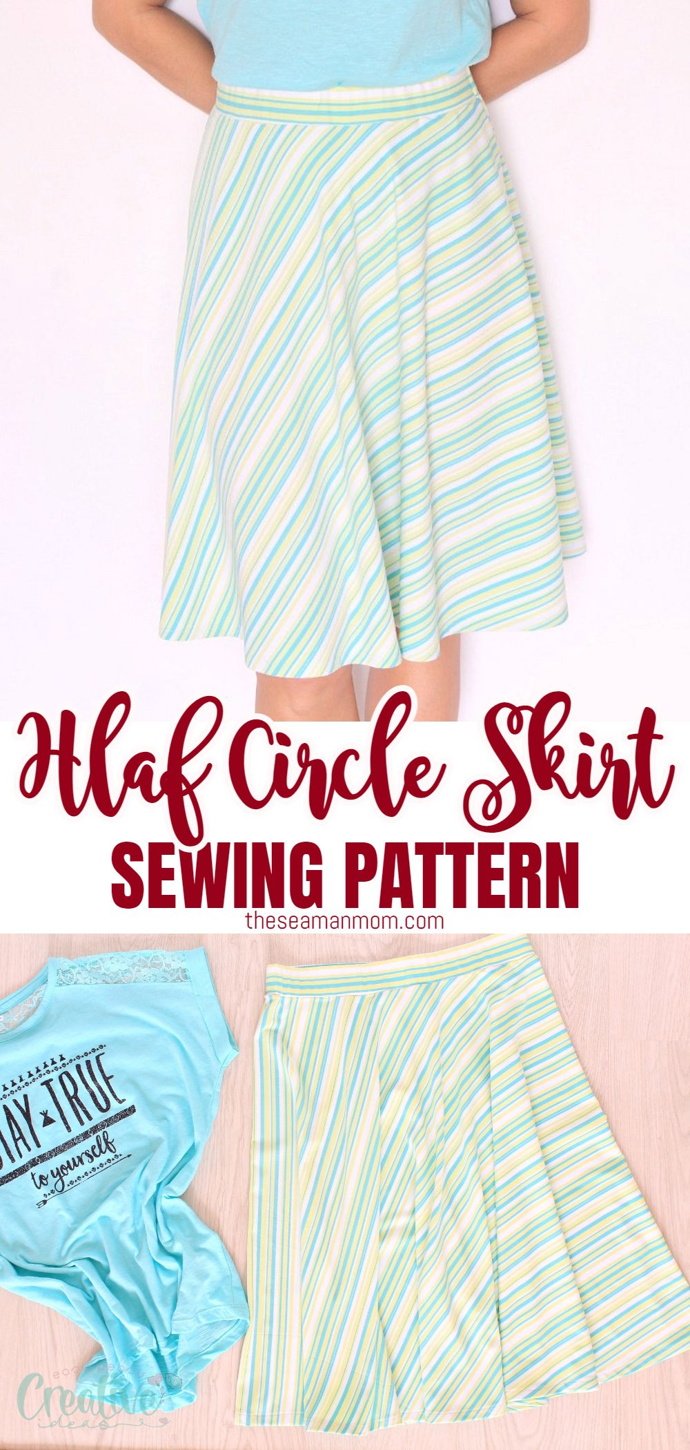 Put together an amazing half skirt that will fit you just perfectly with this easy half circle skirt tutorial! No zipper involved, ready in no time! via @petroneagu