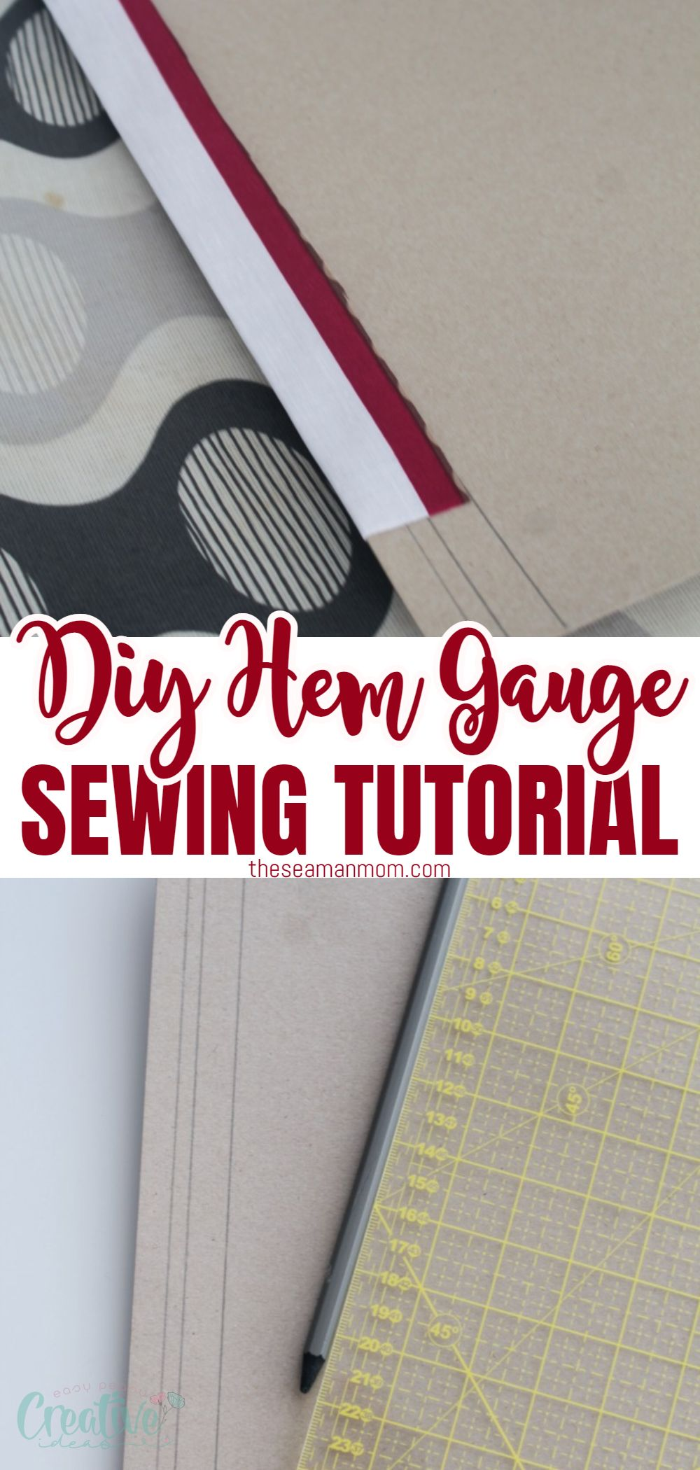 Struggling to get neat, even hems all the time? Making your own hem gauge is so easy, simple and affordable! Here you'll learn the easy way to hem using a DIY hem ruler! via @petroneagu