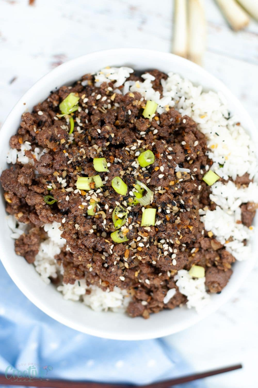 Image of Instant pot Korean ground beef served in a white bowl