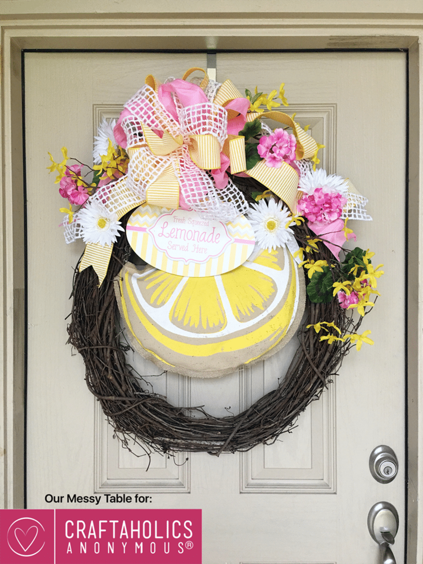 Image of lemonade themed DIY summer wreath