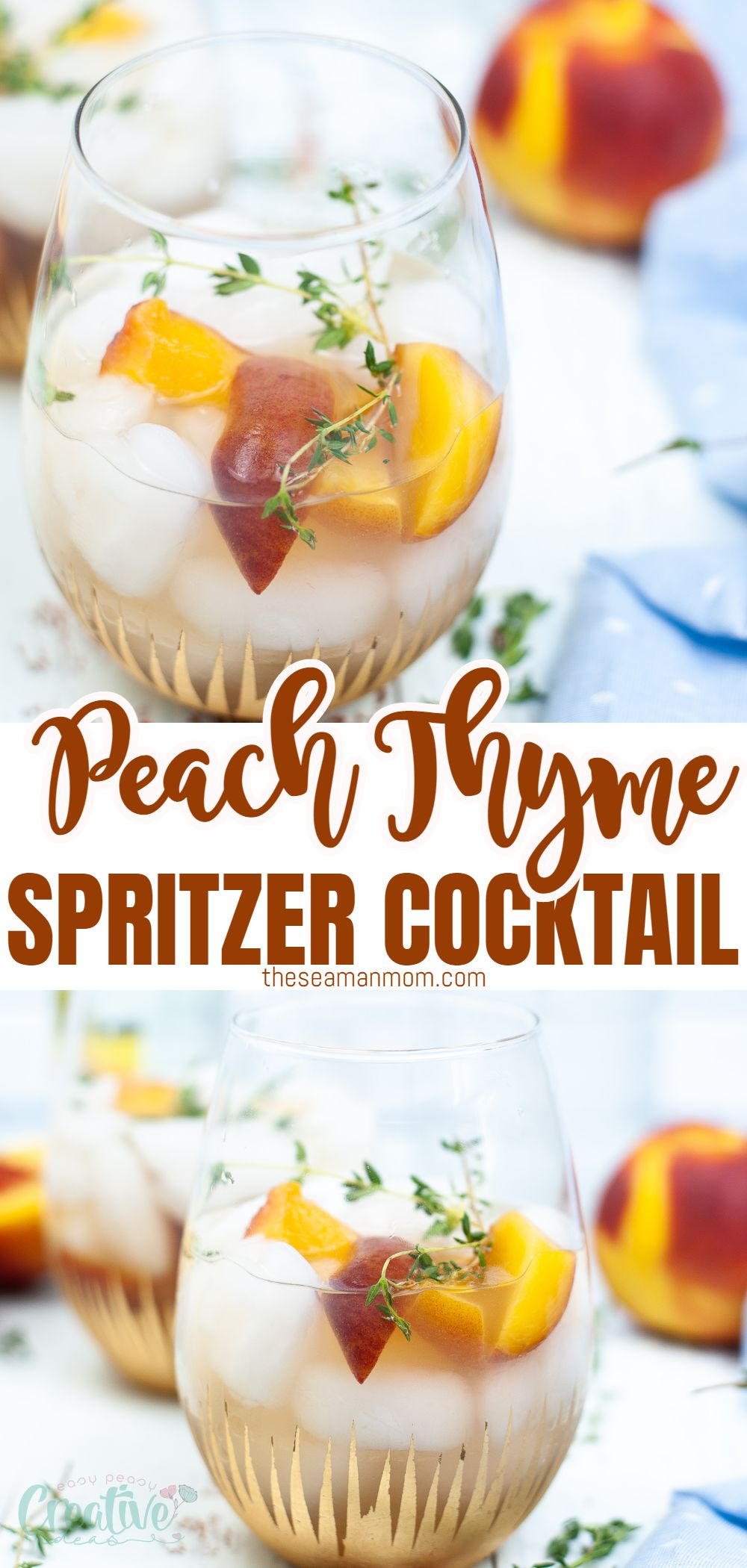 This peach cocktail has arrived just in time for peach & pool season! With an easy to make simple syrup, fresh peaches, thyme, and your favorite liquor this delicious peach gin cocktail will be one beverage you'll want to drink all summer long. via @petroneagu