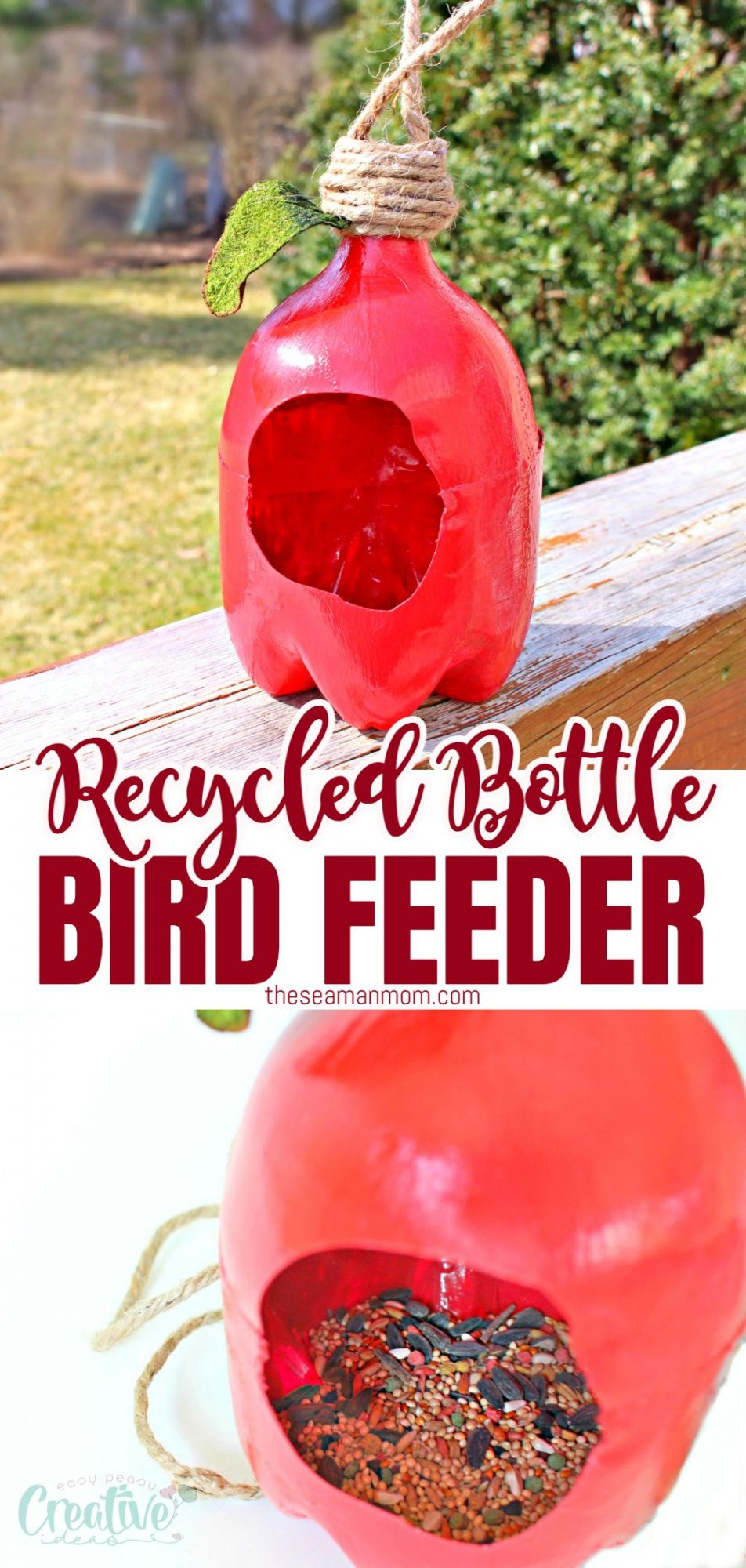 A photo collage of a red bird feeder made from recycled plastic bottle and shaped like an apple, filled with mixed seeds