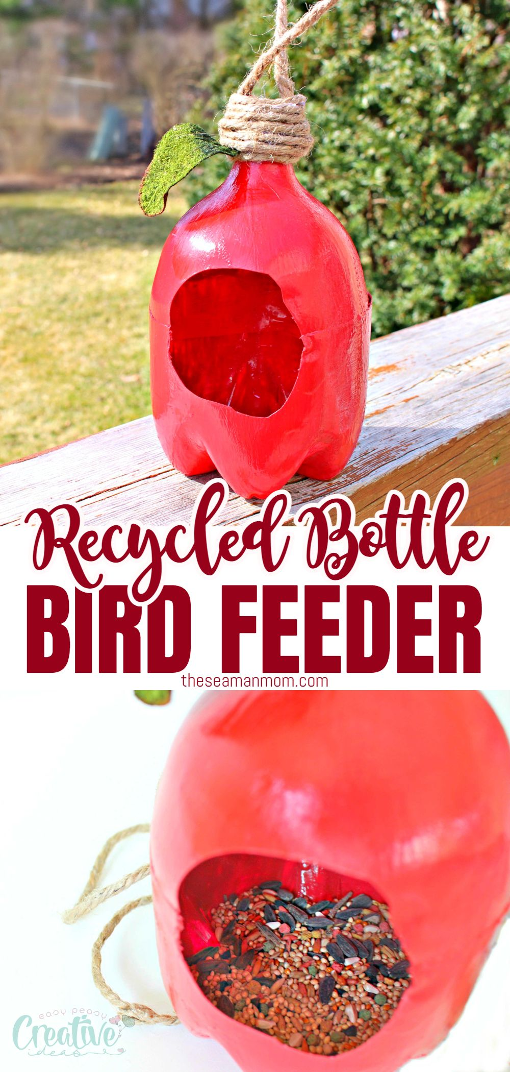 Get the birds to flock around your garden this spring and summer when making this adorable plastic bottle bird feeder! A great way to upcycle while having fun with the kiddos! via @petroneagu